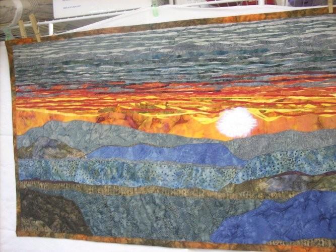 Alachian Sunset Mountain Art Quilt Wall Hanging